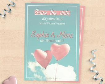 "Wedding invitation Collection ""Save the Date"" custom - puffed heart"