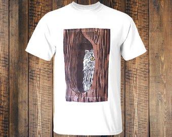 Tshirt Owl - White - Handprinted - Blockprinted