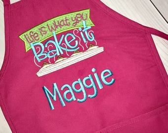 Valentines Day Gifts!  Personalized kids apron, Life is What you Bake It Appliqué