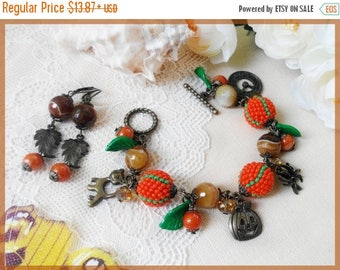 Sale Halloween jewelry set Pendant bronze bracelet Halloween leaf earring Pumpkin orange jewelry Halloween gift for daughter ChristmasInJuly
