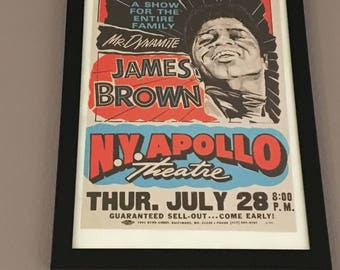 Framed James Brown Tour Poster