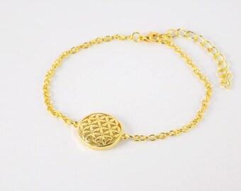 Golden Bracelet  Round Rosette  Flower of Life