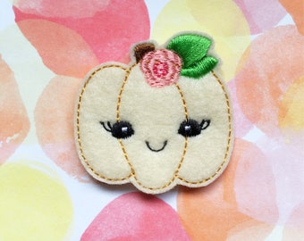 Pumpkin Felties, Pink Flower, Kawaii Pumpkin, Halloween Felties