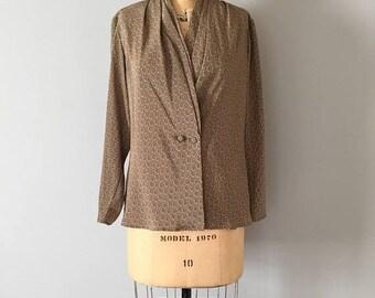 20% OFF SALE... 80s paisley print cocoa brown blouse | wrap blouse