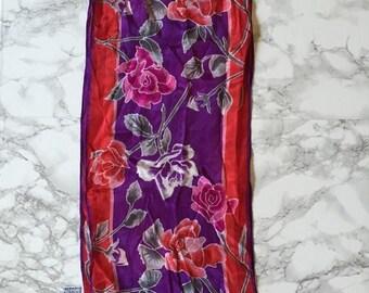 20% OFF SALE... 1970s Oscar De La Renta silk scarf | rose print silk scarf
