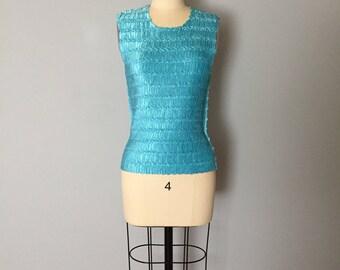 AZURE BLUE micro pleated top | pop corn crinkle top | minimalist crinkle top