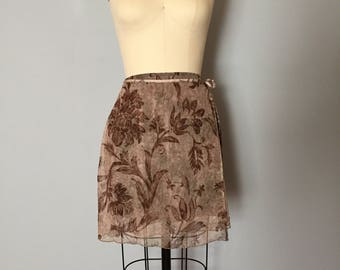barocco mesh wrap skirt | 1990s mesh wrap mini skirt with bow straps | barocco flowers skirt