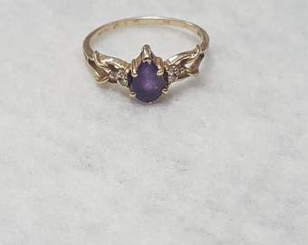 14k Yellow Gold pear shaped Amethyst ring stamped Cigna