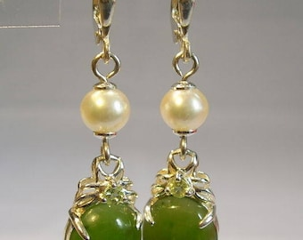 Jade earrings with real white Akoya pearls
