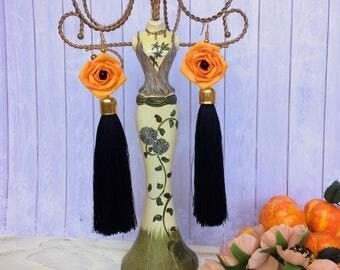 Earrings-brush,silk earrings,long earrings, earrings with pearl, wedding earrings, elegant earrings,Beaded Earrings, fashion earrings,