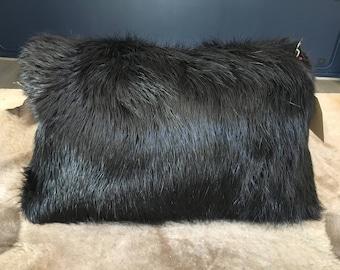 Beaver fur and leather cushion