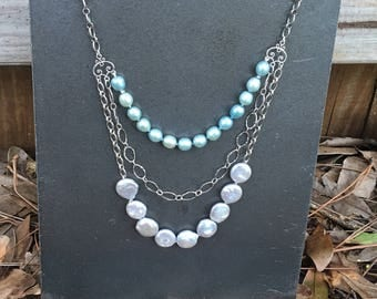 Teal and Silver Pearl Triple Strand Necklace