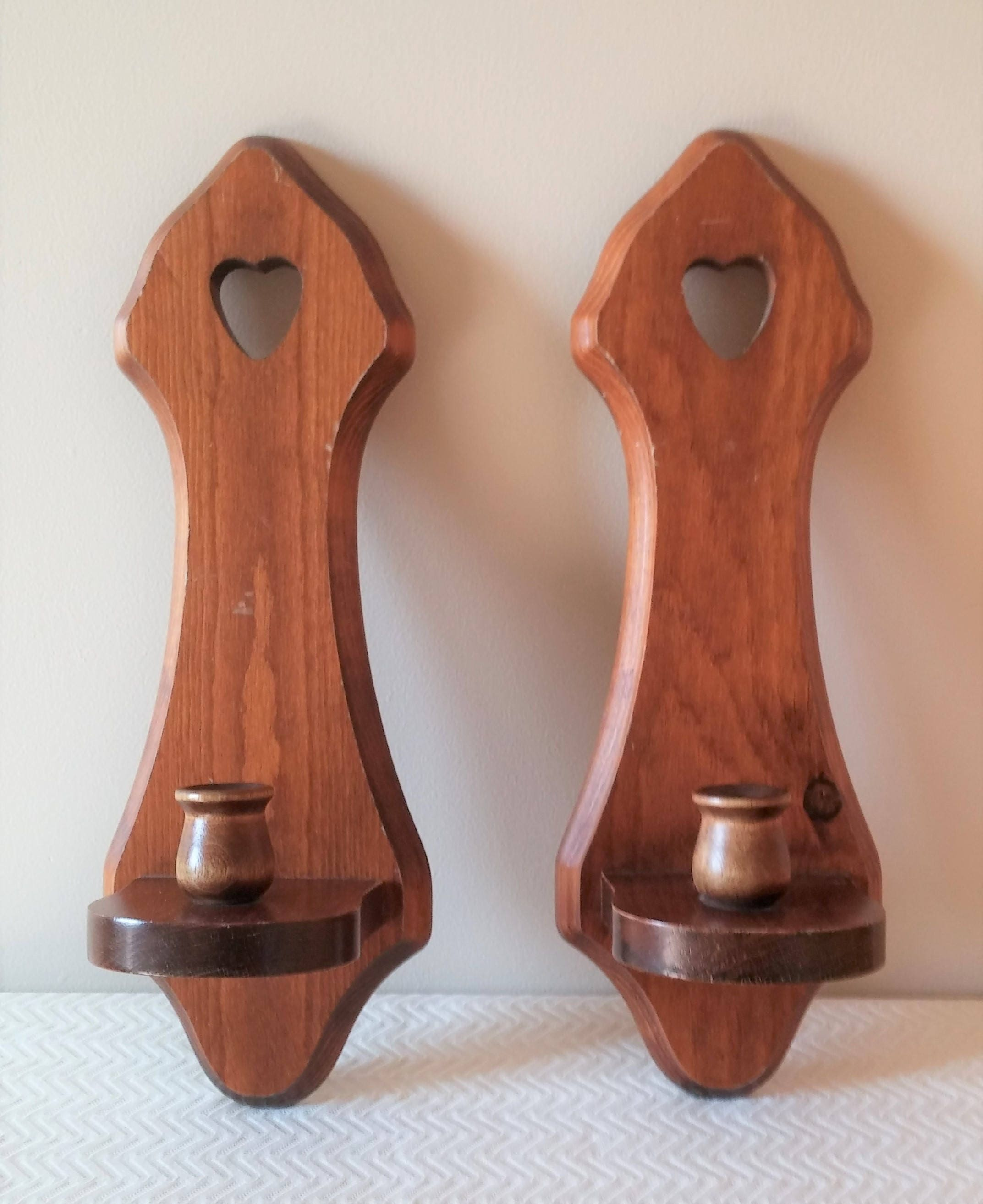 Pair of Vintage Wood Wall Candle Sconces Vintage Sconces Wall