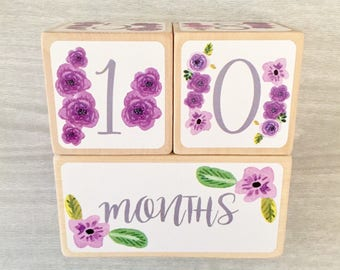 Baby Age Blocks - Baby Milestone Blocks - Girl - Monthly Weekly Yearly Grade Baby Blocks - Baby Photo Prop - Baby Shower Gift - Newborn