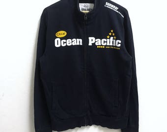 RARE!!! Ocean Pacific Surf Hawaii Big Logo Dark Blue Colour Zipper Sweaters Hip Hop Swag XL Fit L Size