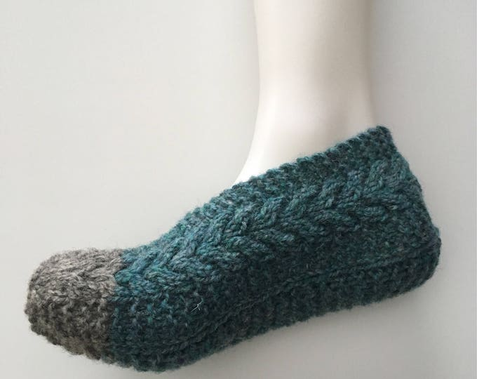 Slippers - Socks double sole - handknitted - size 7-9 women - wool and Nylon