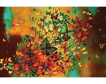 Lily Greenwood (Butterflies on Burnt Umber) Art Print 50 x 100cm  PPR41166
