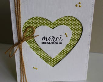 of hand made thanks card, thank you so much, heart, white and green thank you card friendship card