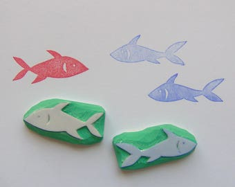 Cute fish stamps, set of 2, hand carved rubber stamps, marine life stamps, sea stamps, hand carved eraser stamp, ocean  stamps, cute, stamps