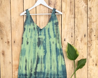 Long Tank, Tank, Tank Top, Hand Dyed, Shibori Dyed, Tie Dyed, Green, Relaxed Fit, Cotton Top, Modern Tank Top, Tie Dyed Top, Sustainable
