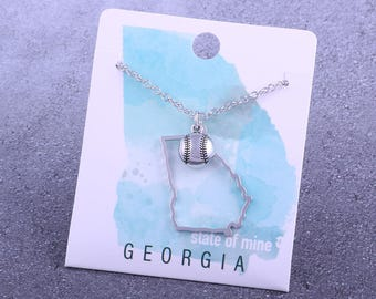 Customizable! State of Mine: Georgia Softball Silver Necklace - Great Softball Gift!