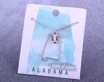 Customizable! State of Mine: Alabama Football Enamel Necklace - Great Football Gift!