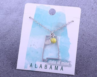 Customizable! State of Mine: Alabama Tennis Racket Necklace - Great Tennis Gift!