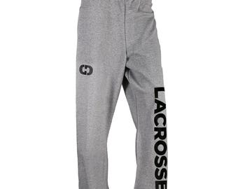 Lacrosse Logo Sweatpants, Grey - 7 Logo Colors, Free Shipping! Great Lacrosse Gift!