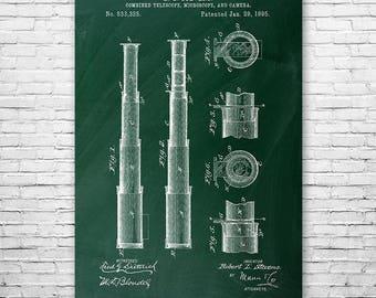 Telescope 1895 Poster Patent Art Print Gift, Telescope Poster, Telescope Art, Telescope Design, Telescope Patent, Nautical Gift, Space Gift