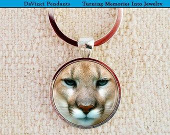 Cougar Keychain, Mountain Lion Pendant, Puma Necklace, Catamount Photo Charm Memento, Friends Keepsake - CoWorkers, Moving, Real Estate Gift