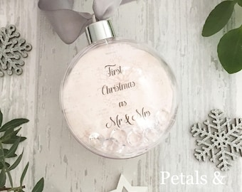 First christmas as Mr & Mrs, newlyweds first christmas, christmas tree bauble, personalised bauble, wedding gift, wedding christmas gift
