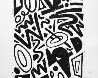 Abstract Lino Print