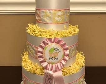 Diaper Cake Pink Girls Pampers Baby Shower Centerpiece