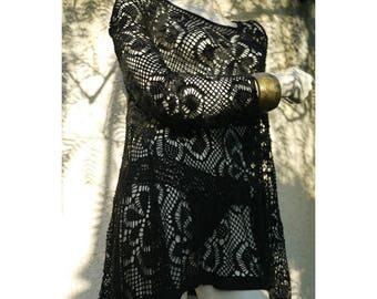 Tunic Vintage 90s/gypsy/boho/tunic Black Summer/garment versatile/Made in Italy/size S/M/L