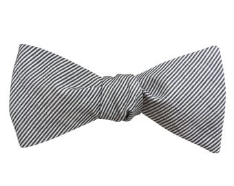 Men's Bow Tie, Bow Tie for Men, Fine Grey and White Striped Chambray Bow Tie, Self-Tie Bow Tie