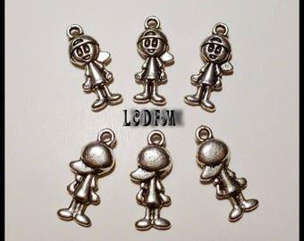 * ¤ 6 silver plated boy charm pendants - 18x7mm ¤ * #PC43