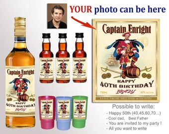 Personalized captain morgan label Unique gift for a man. 21st birthday for him. custom liquor labels. Gift for Boss or colleague. Funny gift