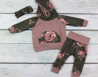 baby girl outfit/baby girl clothes/baby floral set/ hoodie set/coming home outfit/baby girl newborn set/ girls hoodie set/ floral hoodie