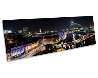 Newcastle Tyne Bridge Quayside CANVAS WALL ART Panoramic Framed Print
