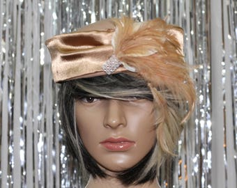 Vintage 50's Lily Lee Tan Pillbox Hat with Feather Decorative Piece