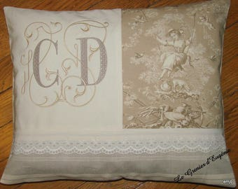 Embroidered cushion, canvas of Jouy Ludivine beige and large Monogram * C D *.