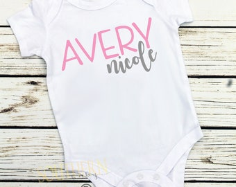 Baby Girl Coming Home Outfit, Shower Gift, Personalized Name, Newborn, Girl Newborn Outfit, Baby Girl Outfit, Name Shirt, New Baby Girl