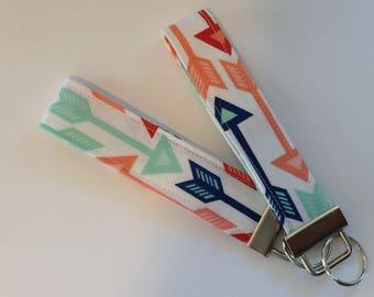 wristlet keychain key fob key ring  fabric keychain women's girls accessories-  arrows designer fabric