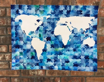World map puzzle etsy world map puzzle sciox Images