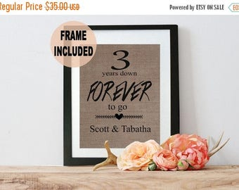 ON SALE 3rd Anniversary Gift - 3 Year Anniversary - Anniversary Burlap Frame - 3 Year Anniversary Gift for Her - Third Anniversary - Three Y