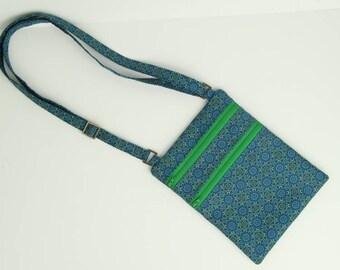 blue medallion x-body bag, purse
