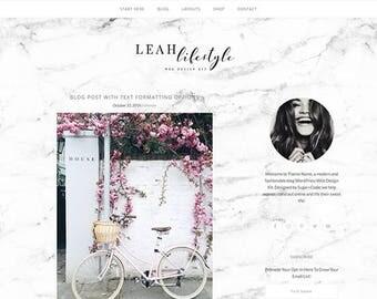 WordPress Blog Theme - Leah Lifestyle - Marbel eCommerce Blog Template - Feminine WordPress Website Theme Design