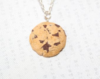 Cookie Necklace Choc Chip Cookie Pendant Biscuit Necklace Miniature Food Jewelry Foodie Gift Food jewelry