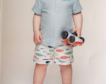 baby bloomers, baby blue, bloomers, kids fashion, baby fashion, baby shorts,shorts, baby gift,kids shorts, tapa fraldas, fofo, fishes