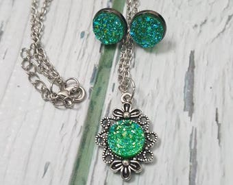 Emerald City Crystal Jewelry, Faux Druzy Gem, Green Gemstone, Fantasy Jewelry, Book Jewelry, May Birthstone,  Druzy Earrings, Druzy Pendant
